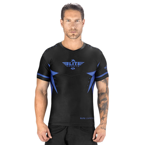 Elite Sports Star Series Sublimation Black/Blue Short Sleeve Rash Guard
