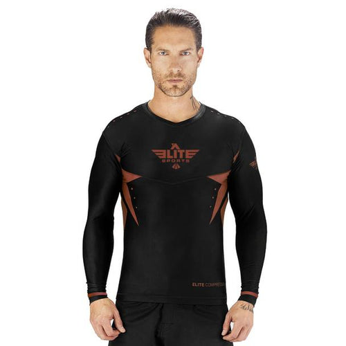 Elite Sports Star Series Sublimation Black/Brown Long Sleeve Training Rash Guard