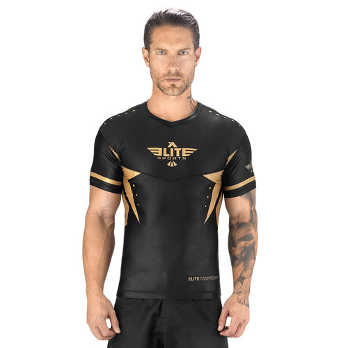 Elite Sports Star Series Sublimation Black/Gold Short Sleeve Rash Guard