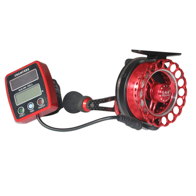 Fishing Reels Solar Power Counting Fish Line Wheel + Digital LCD Display Round Fish Boat Outdoor