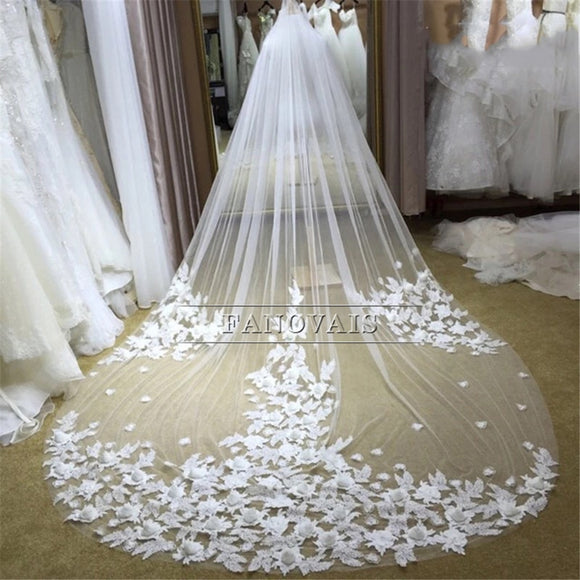 3 Meters Ivory/White Bridal Veils Lace Edge Flowers Tulle Cathedral Wedding Veils