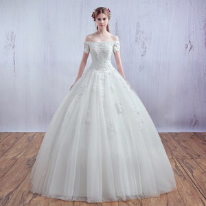 Luxurious French Tulle and Lace Off Shoulder Wedding Gown
