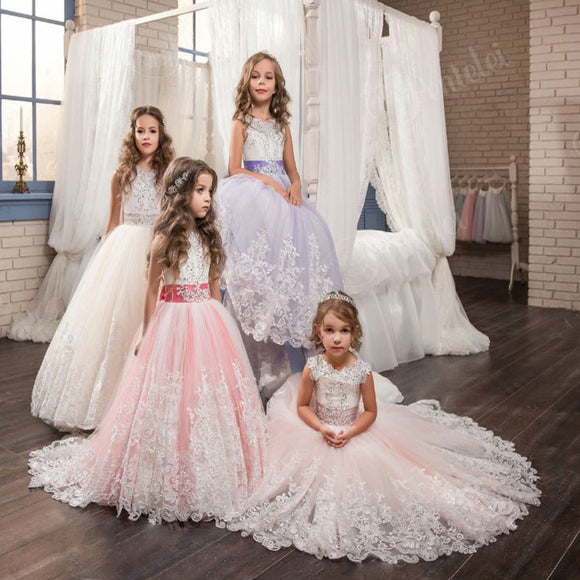 Flower Girl Dresses With Bow Beaded Crystal Lace Up Applique Ball Gown