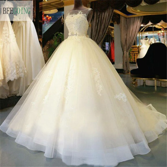 Tulle Lace Floor-Length  Ball Gown Wedding dress