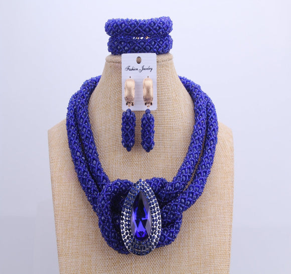 Chunky Women Royal Blue African Beads Bridal Jewelry Sets For Wedding