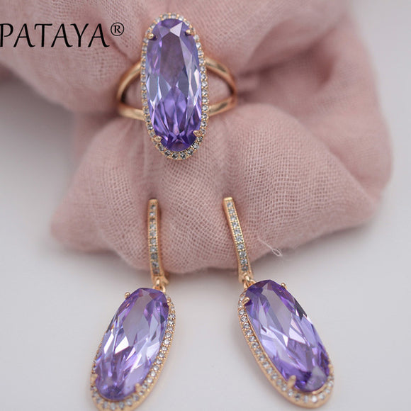 1 PATAYA New Women Wedding Vintage Jewelry 585 Rose Gold Trend Jewelry Sets