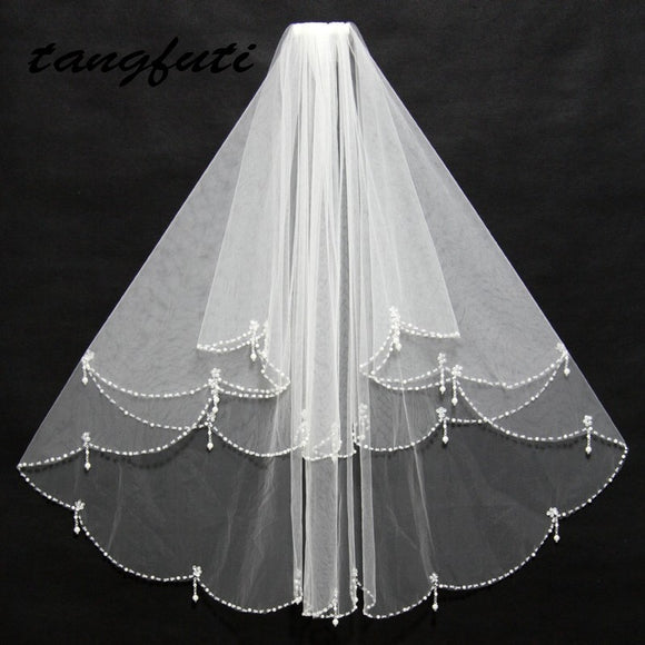 Short Bridal Veils Tulle Pearls Bead Edge Two Layers White Ivory Bridal Wedding Veils