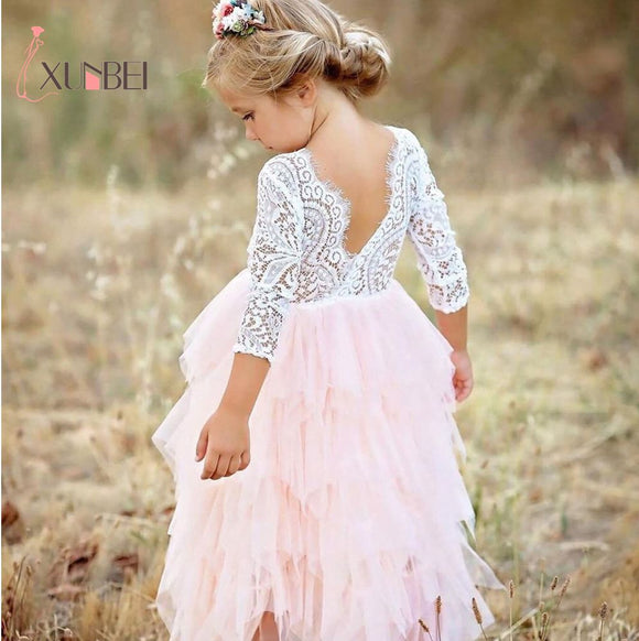 Princess Soft Tulle White Pink Puffy Lace Flower Girl Dresses