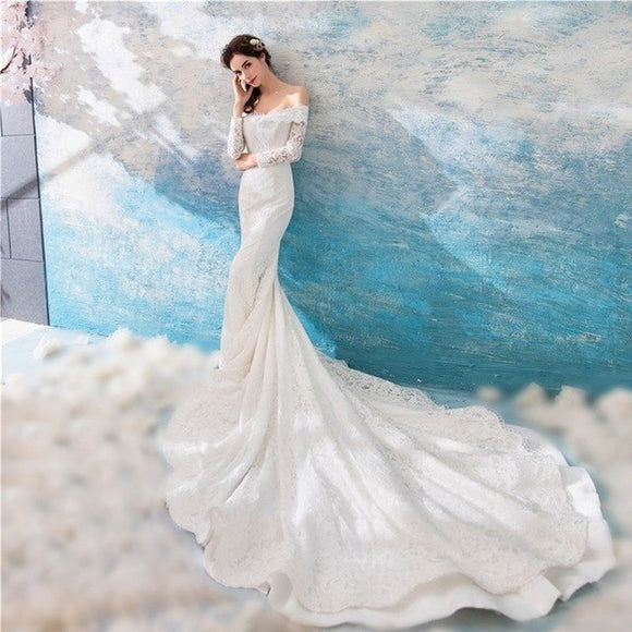 Elegant Off The Shoulder Long Sleeve Lace Mermaid Wedding Gown