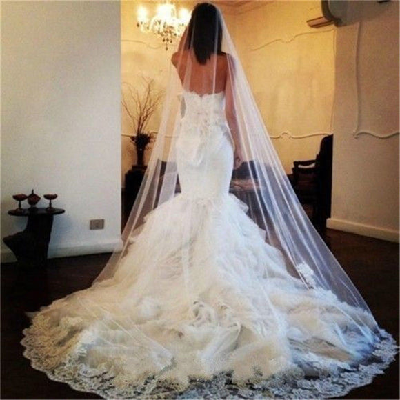 White Ivory Cathedral 1 Layer Lace Applique Edge Wedding Accessories Long Bridal Veil with Comb Veu De Noiva