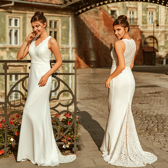 Beautiful A-Line V-Neck Wedding Dress