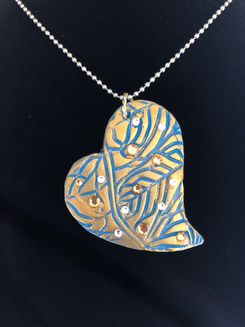 Wearable Art - Large Heart Pendant -Love2