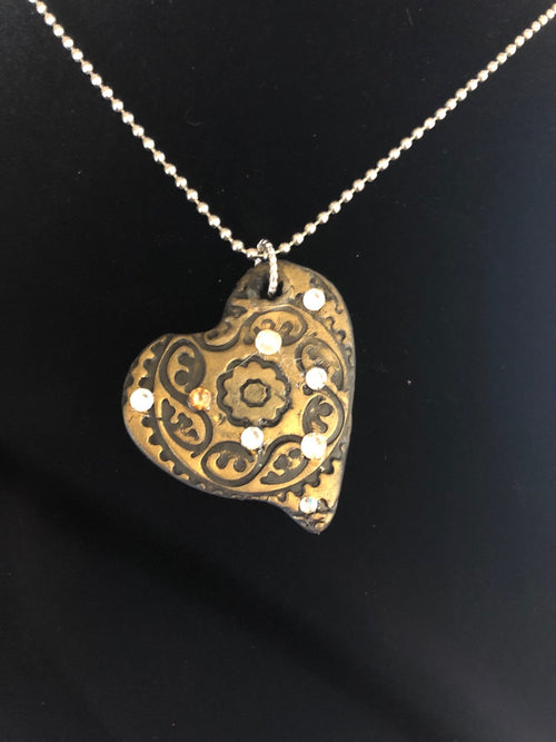 Wearable Art - Medium Heart Pendant -Love9