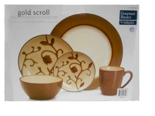 Mikasa Dinnerware Set Gold Scroll 20 Piece Set