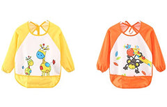 Leyaron Unisex Infant Toddler Baby Waterproof Sleeved Bib, 6 Months-3 Years, Orange Monkey And Yellow Giraffe