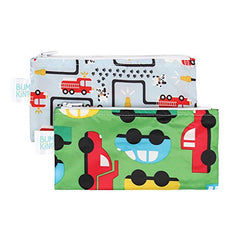 Bumkins Reusable Snack Bag Small 2 Pack, Fire Engine & On-The-Go (B1)