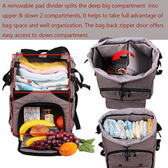 Hap Tim Travel Baby Diaper Bag Backpack, Large Capacity/Easy Organize/Comfortable/Fashion Cool Gift For Newborn Mother Father(Grey 5312)
