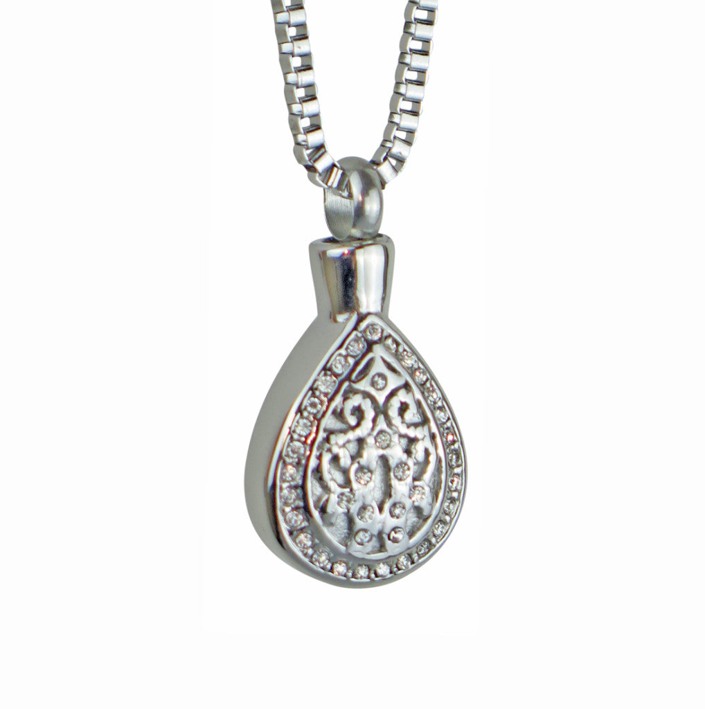 Crystal Teardrop Cremation Urn Pendant