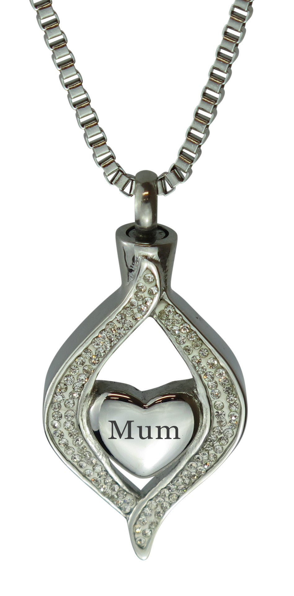 Mum Diamond Heart Cremation Urn Pendant