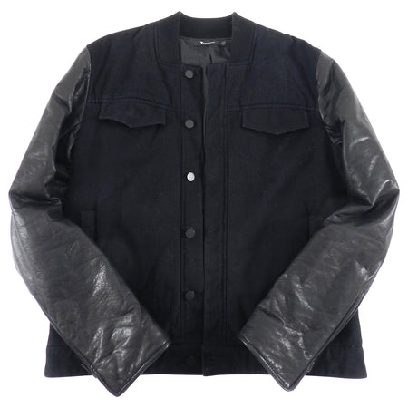 Alexander Wang Fall 2012 Black Cotton Jean Jacket With Leather Sleeves - M