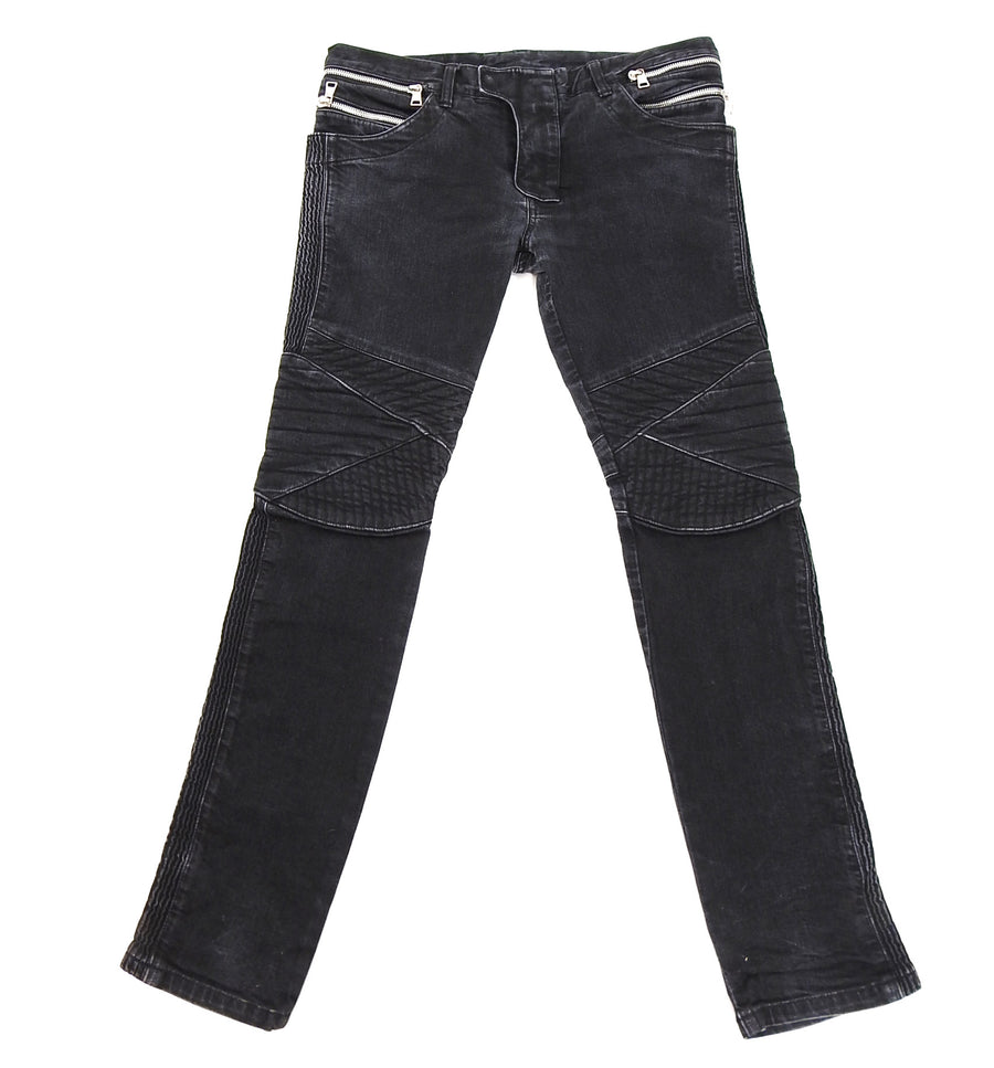 Balmain Black Slim Biker Ribbed Denim Jeans