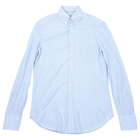 Brunello Cucinelli Blue and White Striped Button Down Oxford - L