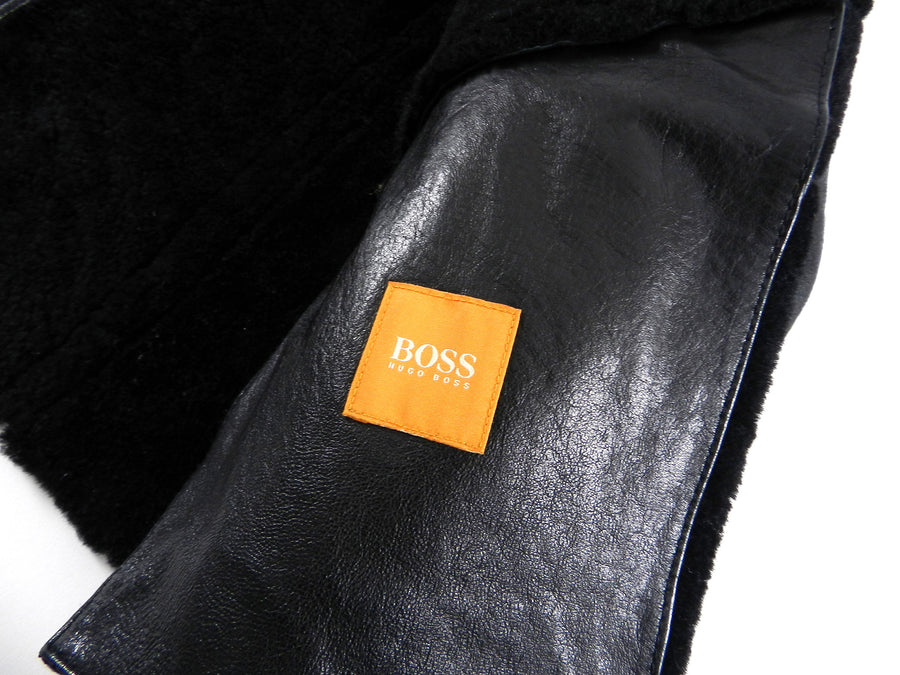 Hugo Boss Black Leather Zip Front Short Shearling Jacket - M