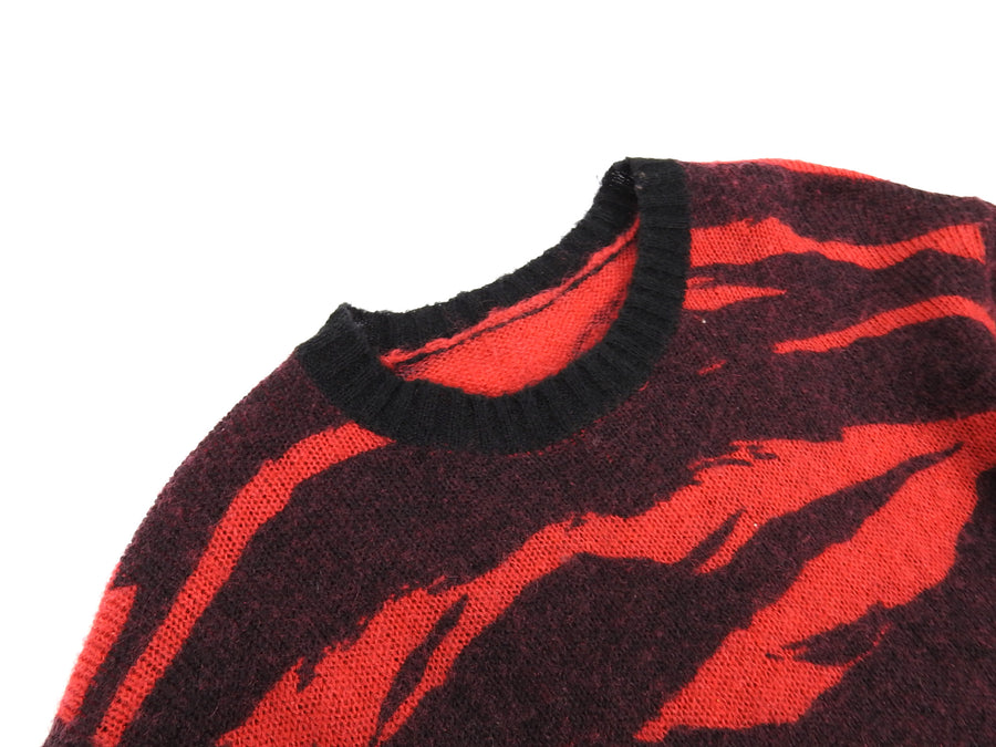 Maharishi Red Tiger Camo Wool Knit Sweater - L