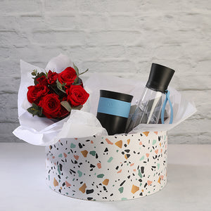 Mug & Bottle Set with Chocolate & Roses