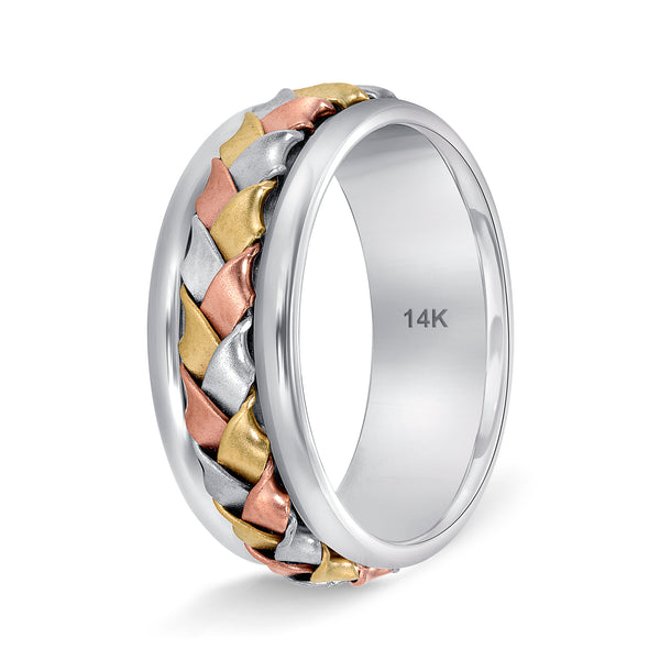 Tri Color Hand Bridal wedding bands for Men and Women