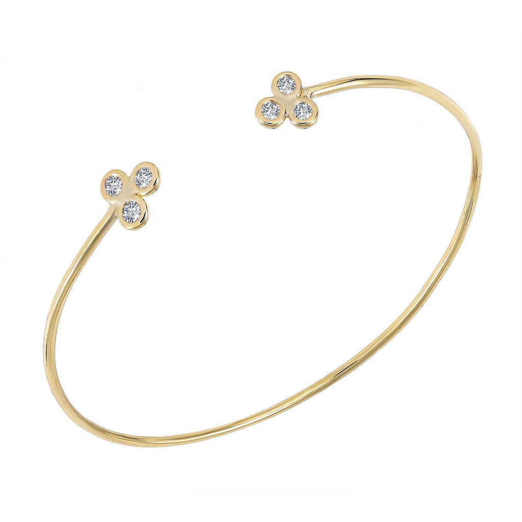 TousiAttar Diamond Bangle Gold Bezel Set Skinny Design