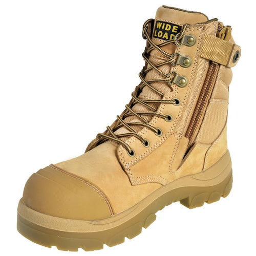 890WZ - High Leg Extra Wide Side Zip Safety Boot – Wheat