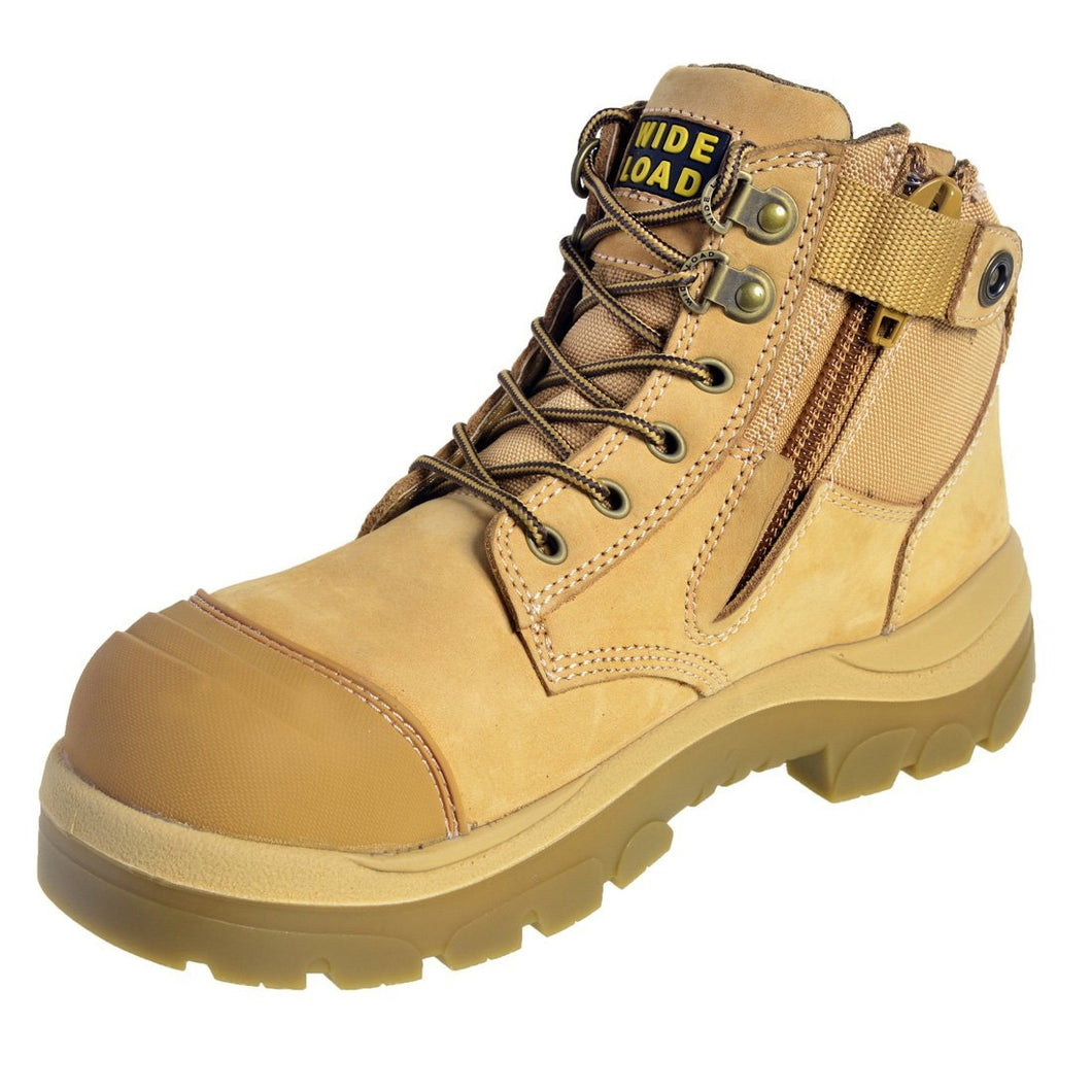 690WZ - Side Zip Extra Wide Safety Boot  – Wheat