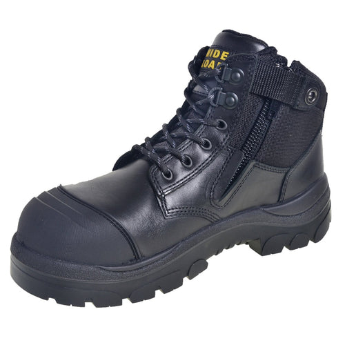 690BZ - Side Zip Extra Wide Safety Boot – Black