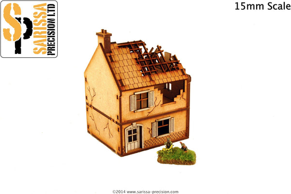 Destroyed Small House - 15mm
