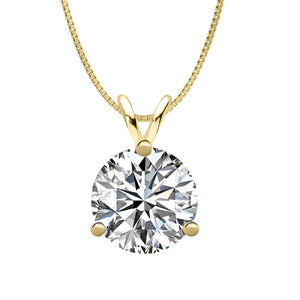 18 KARAT YELLOW GOLD 3-PRONG ROUND PENDANT WITH BOX CHAIN. BUILD YOUR OWN PENDANT.