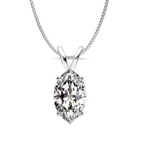 18 KARAT WHITE GOLD MARQUISE PENDANT WITH BOX CHAIN. BUILD YOUR OWN PENDANT.