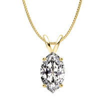14 KARAT YELLOW GOLD MARQUISE PENDANT WITH BOX CHAIN. BUILD YOUR OWN PENDANT.