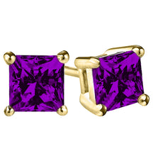 14 KARAT YELLOW GOLD AMETHYST PRINCESS. Choose From 0.25 CTW To 10.00 CTW