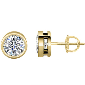 14 KARAT YELLOW GOLD OPEN BEZEL ROUND 1.50 C.T.W