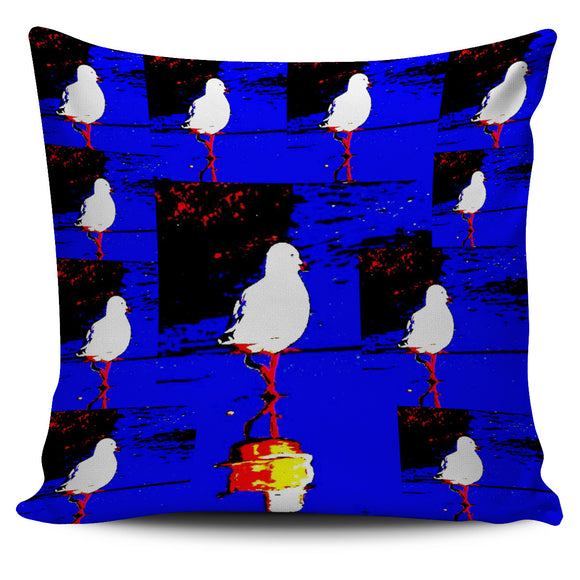 BLUE & BLACK SEAGULL CUSHION COVER