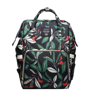 Leaves Print Nappy Backpack (Black/Navy)