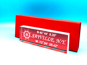 "NAME PLATE 6""  with your town and Coordinates Starting at"