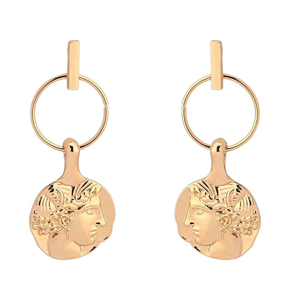In A Perfect World gold coin face drop studs earring