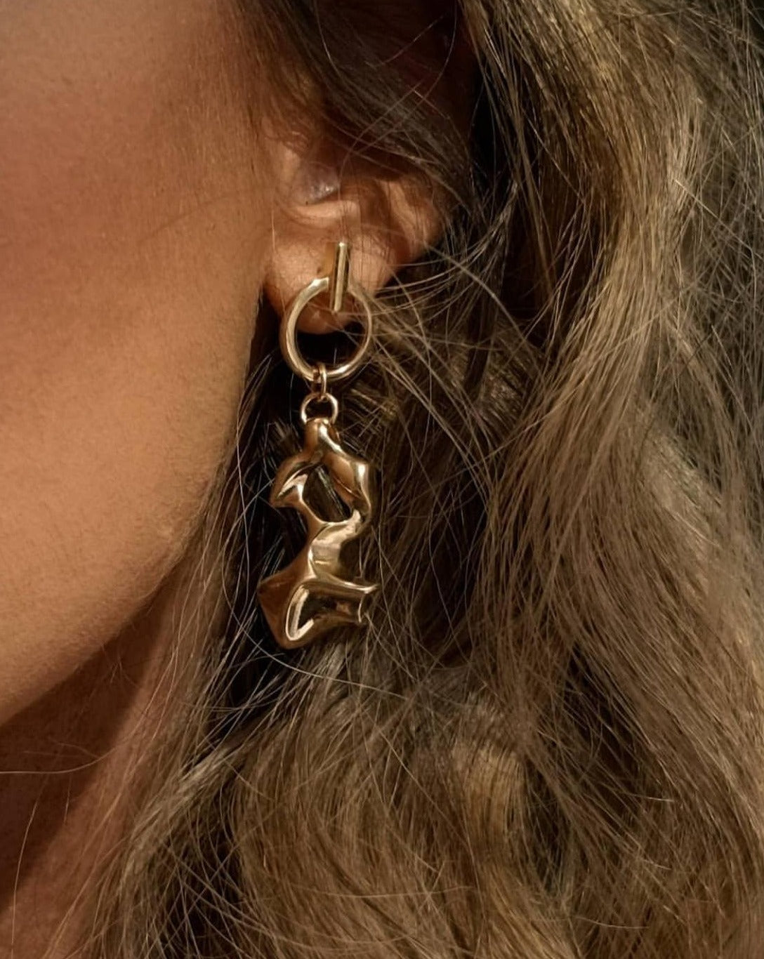 In A Perfect World IAPW classic gold stud dangle