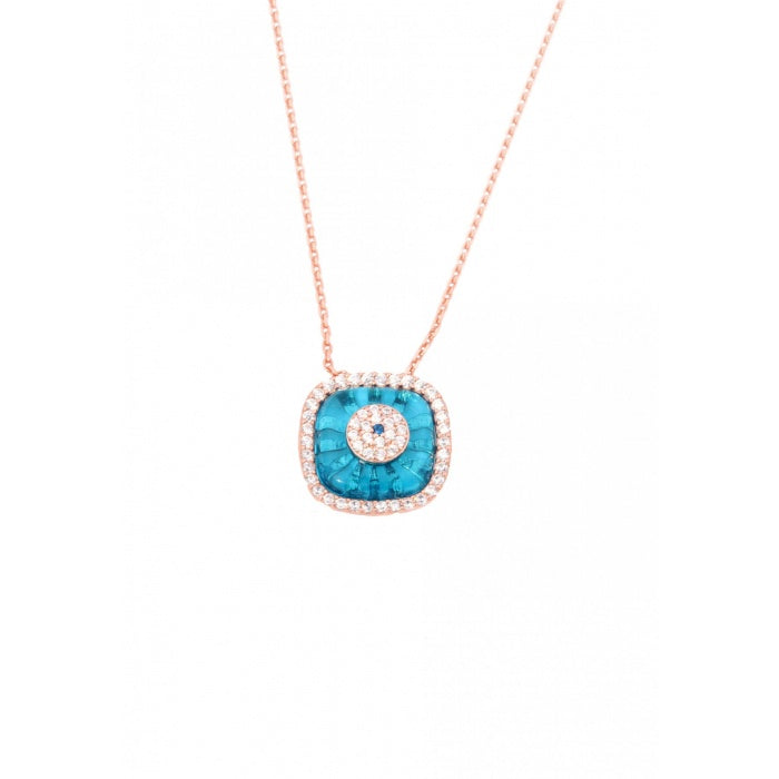 SQUARE BLUE GLASS EYE NECKLACE