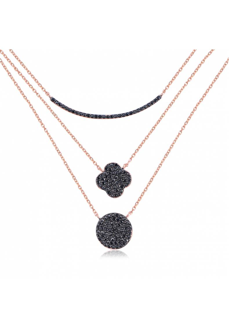 TRIPLE LAYER CLOVER BLACK STONE NECKLACE