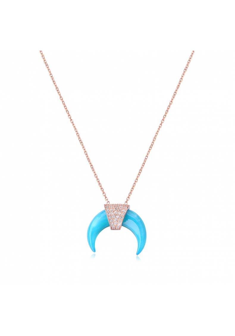 TURQUOISE REVERSE CRESCENT NECKLACE