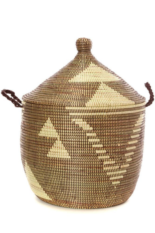 Swahili African Modern Brown and Cream Basket Swahili African Modern
