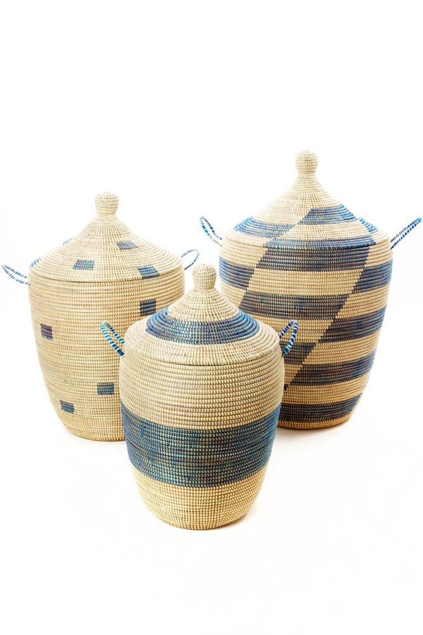Swahili African Modern Set of Three Blue and Cream Mixed Pattern Hampers Swahili African Modern